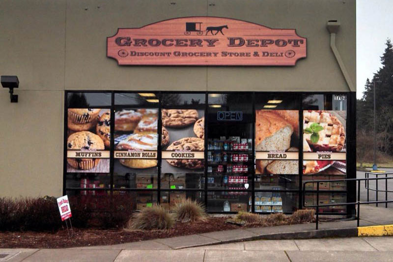 Grocery Depot Window & Sign Display at Xtreme Grafx in Albany, Oregon